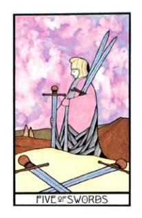 The Five of Swords from the Aquarian Tarot