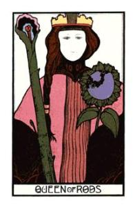 The Queen of Wands from the Aquarian Tarot at www.BohemianPathTarot.com