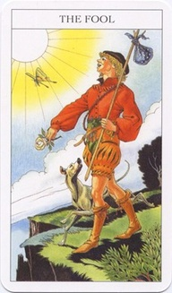 The Fool from the Sharman-Caselli Tarot Deck