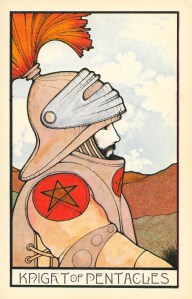 The Knight of Pentacles from the Aquarian Tarot, Tarot thoughts at www.BohemianPathTarot.com