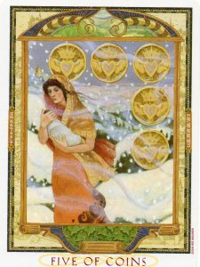 The Five of Pentacles from the Lover's Path Tarot at www.BohemianPathTarot.wordpress.com